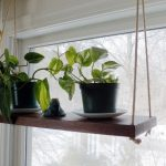 Walnut swing shelf